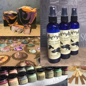 Soaps, trinkets, balms, and body spray with the Farmer's Soapery
