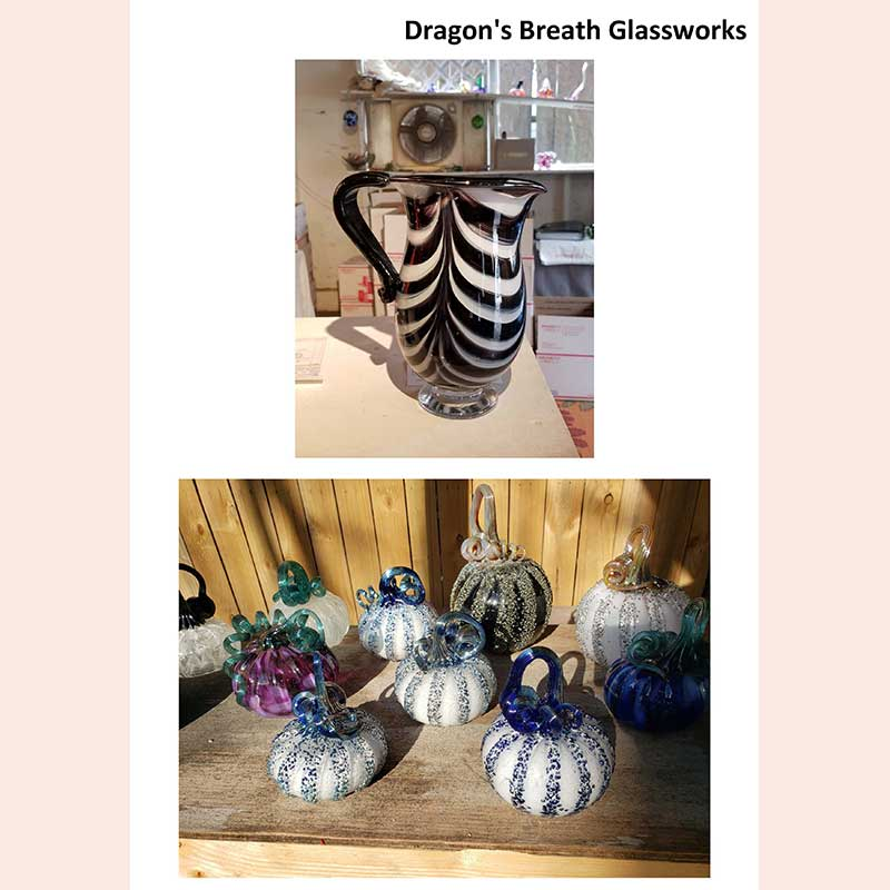 Handmade pitcher and glass pumpkins by Dragon's Breath Glassworks