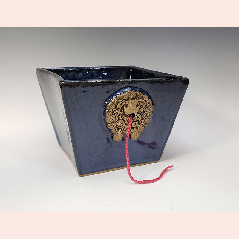 Ceramic yarn keeper by Prancing Pony Pottery