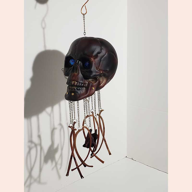 Metal Skull Sculpture by Manipulations In Wire