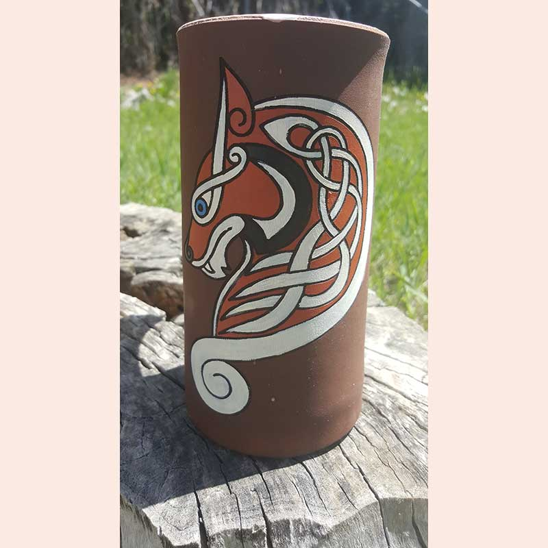 Painted Wolf Flagon by D&U Leather Mugs