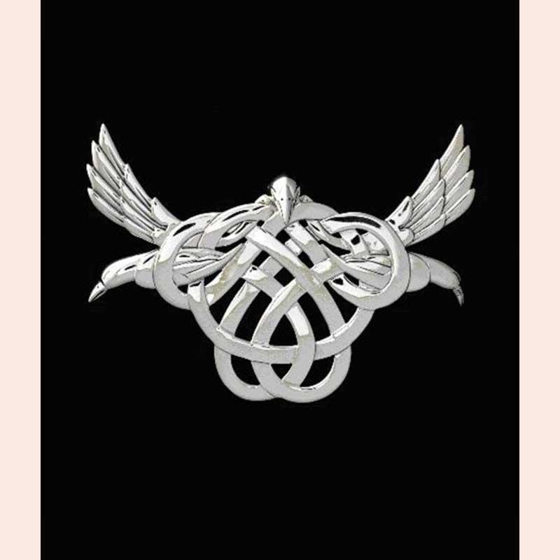 Sterling Silver Triple Raven Celtic Goddess Morrigan Pendant by Celtic Jackalope